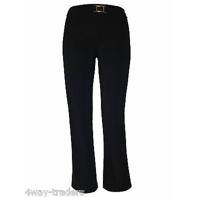 Women black bootcut trousers bootleg stretchy with front silver buckle plus size