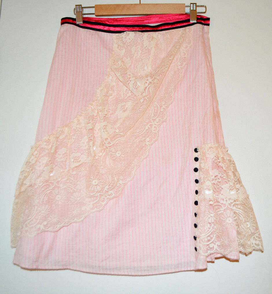 6  Rare Anthropologie Lace Button Striped Cotton Skirt
