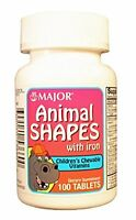 Major Animal Shapes With Iron Children's Vitamins 100 Tablets on sale