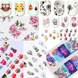 2Sheets-Nail-Water-Decals-Stickers-Nail-Art-Transfer-Flowers-Animals-Pattern-Set