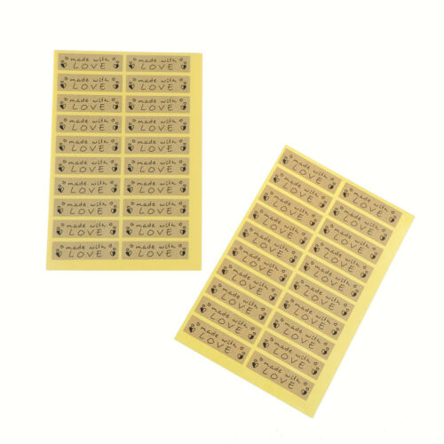 100pcs Hand made with love Seal Stickers for DIY Gift Cookie Packaging Labels JB