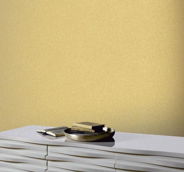 Arthouse Linen Textured Mustard Yellow Quality Wallpaper 676009 Ebay