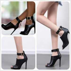 Ladies-Solid-Peep-Toe-Ankle-Strap-Buckle-Sandals-Stiletto-High-Heel-Boots-Size-8