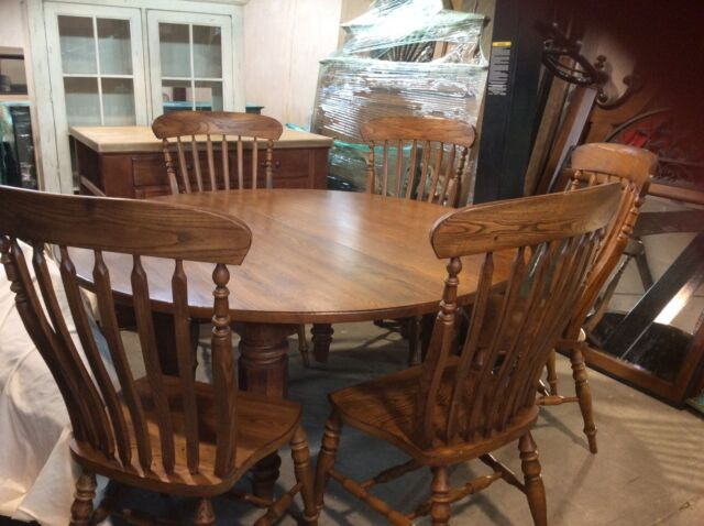 Bob Timberlake Solid Oak 64 In Round Dining Table W 6 Chairs For Lexington