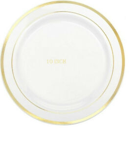 10'' Dinner / Wedding / Party Disposable Plastic Plates white With Gold Rim