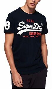 Superdry-Mens-Casual-Vintage-Logo-Tri-Crew-Neck-T-shirt-Cotton-Tee-Eclipse-Navy