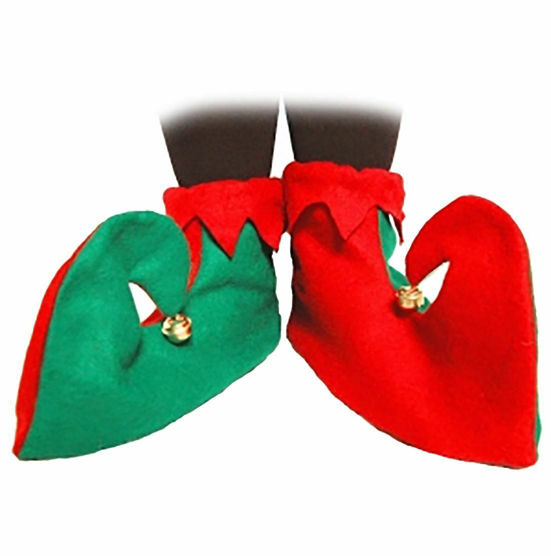 Adults Green And Red Shoes Party Supply Unisex Christmas Fancy Dress Accessory