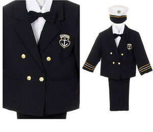 Baby Boy Toddler Nautical Captain Suit Formal Outfits Navy Blue sz: 0 month - 4T