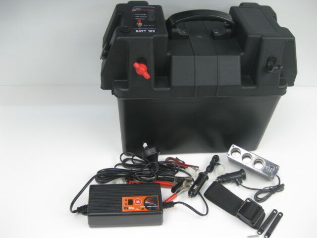 BATTEY BOX 12v 130AH AGM DEEP CYCLE DUAL BATTERY SYSTEM 240v BATTERY CHARGER