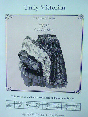 Saloon Girl Gypsy ruffled layered can-can skirt Sewing pattern for 1890/'s TV280