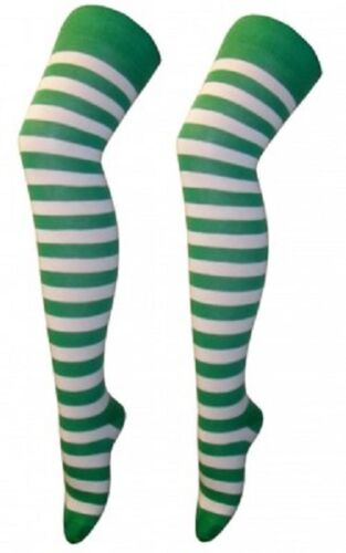 NEW TEENAGE ADULT GREEN /& WHITE STRIPE LONG OVER KNEE SOCKS 4-6 St PATRICK/'S DAY