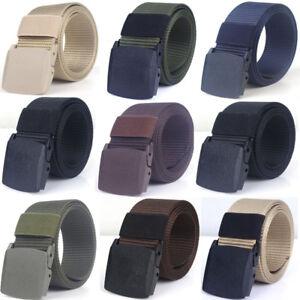 Mens-Canvas-Belt-Military-Tactical-Waist-Belt-Plastic-Buckle-Webbing-Waistband
