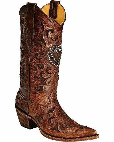 Corral Women's Burnished Goatskin Crystal Heart Cowgirl Boot Pointed Toe Cognac