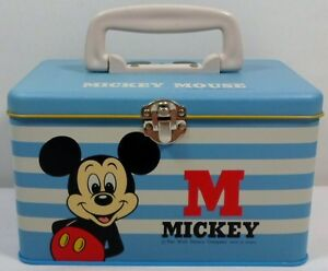 DISNEY-VTG-70-039-s-MICKEY-MOUSE-BIG-BLUE-TIN-LUNCH-BOX-BY-034-MELODY-034-TAIWAN-UNUSED