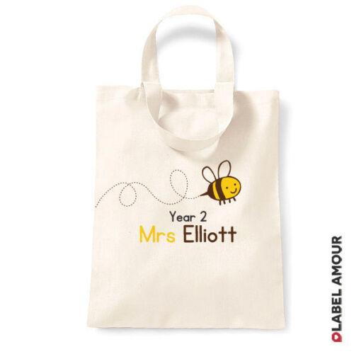 Personalised Teacher School Nursery PE Sport Thank You Gift Tote Bag Sack Cotton