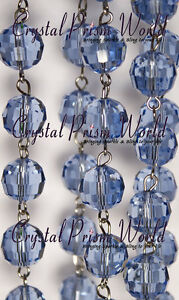 6 ft blue crystal glass chain chandelier wedding lamp bead garland image is loading 6 ft blue crystal glass chain chandelier wedding mozeypictures Gallery