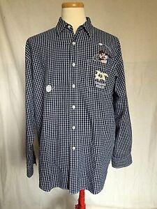 Looney-Tunes-Tasmanian-Devil-Playing-Golf-Mens-Plaid-Button-Shirt-XL-Blue-White