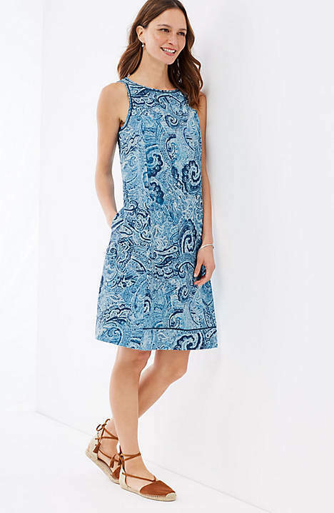 J. Jill - 2X(Plus) - Beautiful Linen Linen Linen Indigo bluee Paisley Waves A-line Dress NWT 794c22
