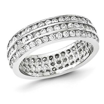 925 Sterling Silver Rhodium-plated Polished CZ 3-Row Eternity Ring Band Size 6-8