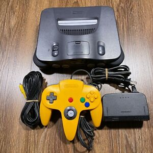 Nintendo 64 N64 Console System w/ Cables and Yellow Controller