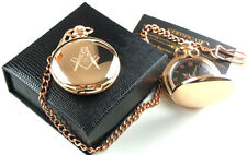 FREEMASONS 18ct ROSE GOLD Clad Full Hunter Chain MASONIC POCKET WATCH Gift Case