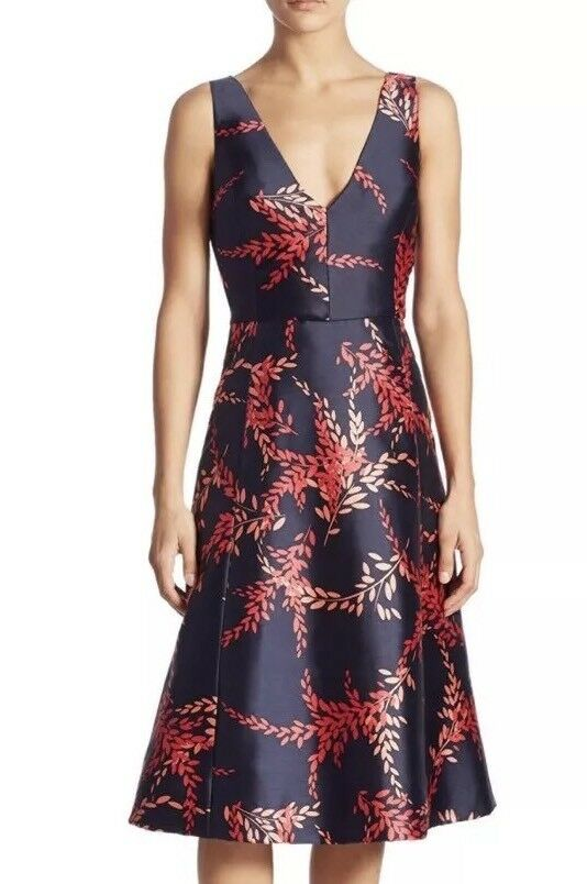 OSCAR DE LA RENTA Coral Hued Floral Leaf Print Silk Mikado Dress 6