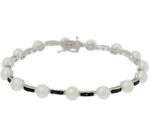 HONORA-CULTURED-WHITE-PEARL-amp-BLACK-DIAMOND-STERLING-7-1-2-034-BRACELET-QVC-309-00