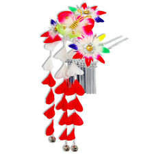 Japanese Hair Ornament Kanzashi Rainbow Flowers Silver Links Red Wisteria Bells