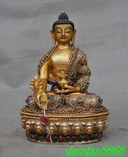 "8"" Tibet silver gilt Filigree inlay Turquoise Red Coral gem Bhaisajyaguru statue"