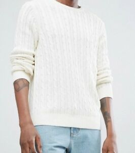 4bd1a440340 Details about Farah - Ludwig Cable Knit Sweater in Chalk, XL, Brand New