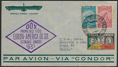 BRAZIL STAMPS ON DOX 1931 FLIGHT COVER BR8649