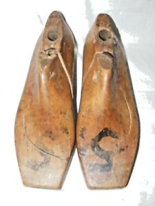 ANTIQUE-FRENCH-SHOE-LAST-FORMS-MOLDS-SHAPERS-COBBLERS-TREEN-METAL-BASE-UK3