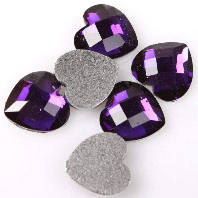 300pcs 24354 Charms Faceted Purple Hearts Stick-on Embellishments Flatback 10mm