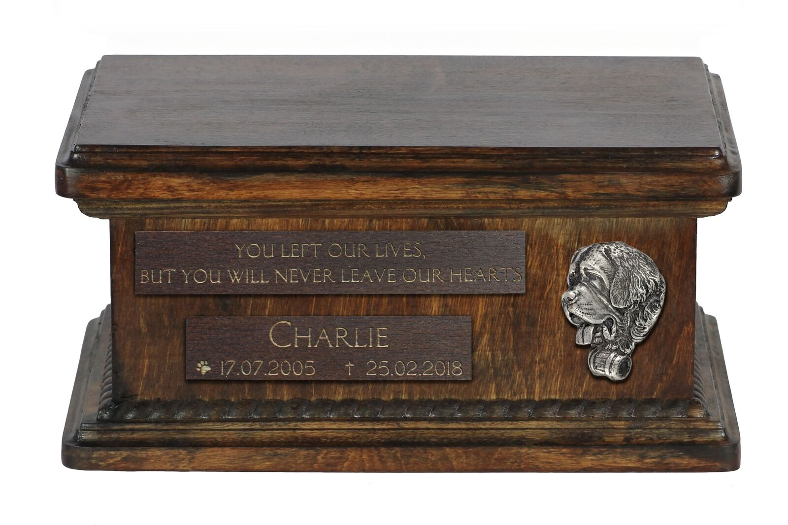 Saint  Bernard - wooden urn for dog's ashes, low model, Art Dog