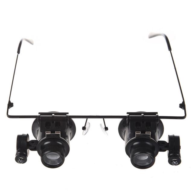 HU Loupe a lunettes 20X avec lumiere LED Noir
