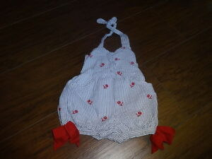a8ebc44feff JANIE AND JACK 0-3 4TH OF JULY BUBBLE ROMPER BLUE STRIPED FLOWERS
