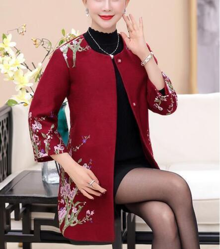 Lady Floral Embroidery Fur Collar Wool Blend Chic Mother Coat Jacket Parka sg34