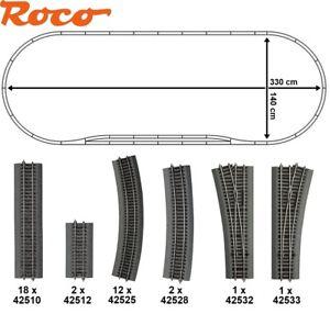 Roco-H0-51313-3-Line-Gleisset-36-teilig-avec-2-Aiguillages-Neuf-Emballage