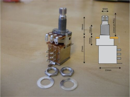 Push B500k with 2 nuts and 1 washer Pull DPDT switched guitar potentiometer