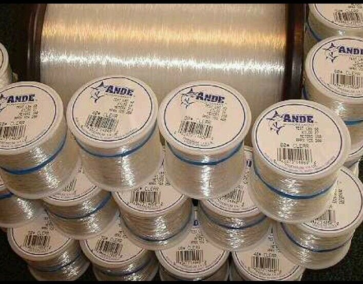 Clear 15LB Test Ande Monofilament 1 4 12  spools  fast delivery and free shipping on all orders