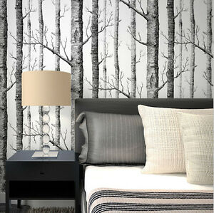 realistic forest tree wallpaper birch tree branches black white