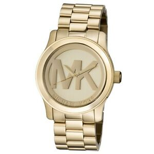 46971bdcb13c2 New Michael Kors Runway Gold Stainless Steel Logo MK5473 Women s ...