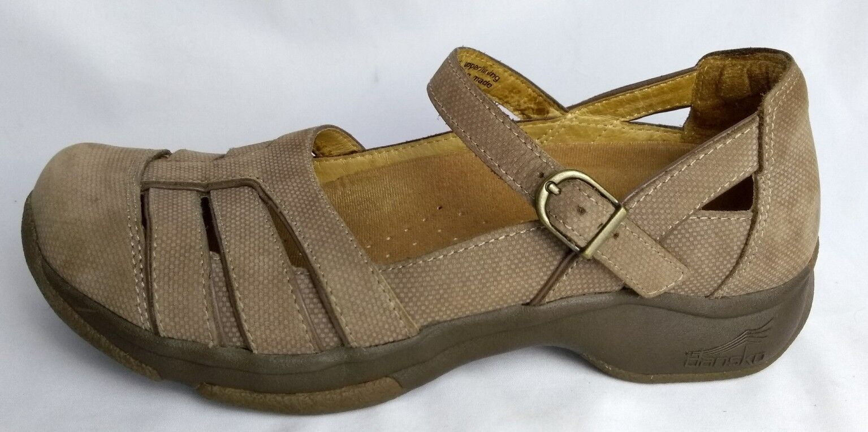 Dansko Sandal Clog Mary Jane Closed Toe Tan Light Brown Taupe Beige Women's 7.5