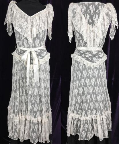 Vintage 70s does 30s Romantic Lace Dress Prairie B