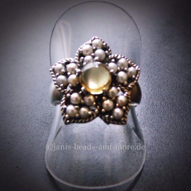 Edler Antik Style Cabochon Citrin Lotperlen Stern Ring 925 Silber 18,4 mm