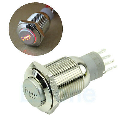 Hot 12V Red LED Momentary Horn Button 16mm Push Button Metal Lighted Switch