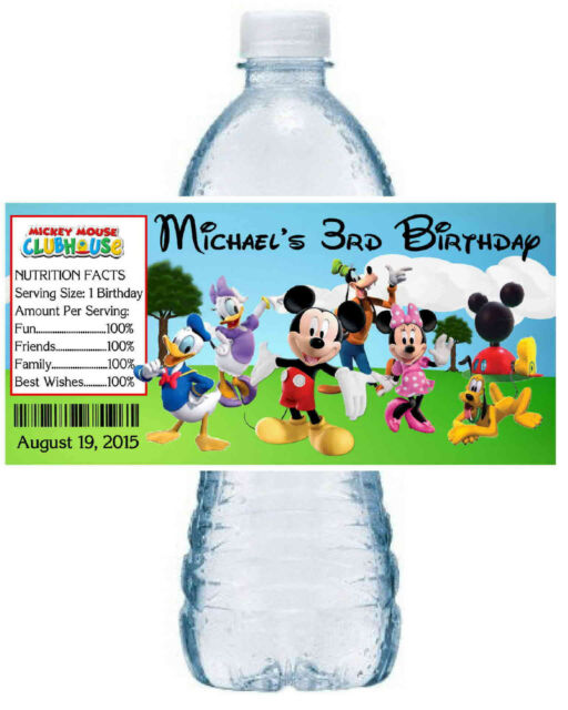 20 MICKEY MOUSE CLUBHOUSE Birthday Water Bottle Labels - Glossy- group design