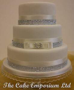 Image Is Loading WEDDING CAKE LOVE HEART RHINESTONE BUCKLE SATIN DIAMANTE