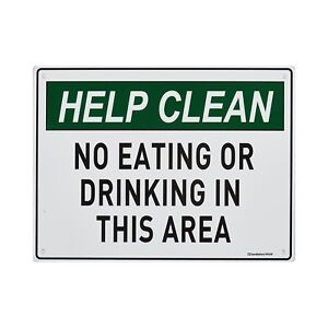 "Sandleford ""NO EATING OR DRINKING"" SIGN 300x225mm Mounting Holes *Aust Brand"