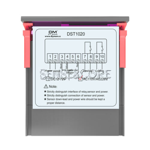 DST1020 AC 110-230V Digital Dual Display Thermostat Temperature Control DS18B20